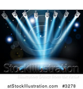 Vector Illustration of a Deserted Stage Illuminated with Blue Lights by AtStockIllustration