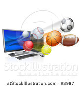 Vector Illustration of a Desktop Computer and Sports Balls Flying from the Screen by AtStockIllustration
