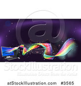 Vector Illustration of a Desktop Computer with Rainbow Waves by AtStockIllustration