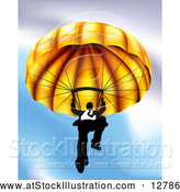 Vector Illustration of a Determined Business Man Declining from Sky with Gold Parachute by AtStockIllustration