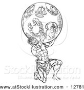 Vector Illustration of a Determined Greek Mythology Titan Lifting Globe with Zodiac Theme - Black Outlined Version by AtStockIllustration