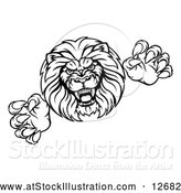 Vector Illustration of a Determined Lion Mascot Attacking - Black Outline by AtStockIllustration