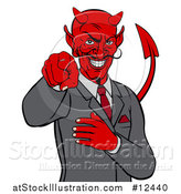 Vector Illustration of a Devil Business Man Pointing Outwards, from the Waist up by AtStockIllustration