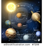 Vector Illustration of a Diagram of the Solar System with Labeled Planets and Blue Star Background 2 by AtStockIllustration