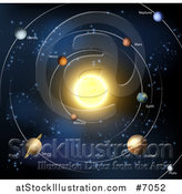 Vector Illustration of a Diagram of the Solar System with Labeled Planets and Blue Star Background by AtStockIllustration