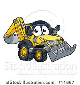 Vector Illustration of a Digger Bulldozer Mascot by AtStockIllustration