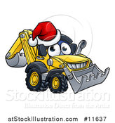 Vector Illustration of a Digger Bulldozer Mascot Wearing a Santa Hat by AtStockIllustration
