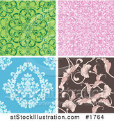 Vector Illustration of a Digital Collage of Four Seamless Floral Tile Backgrounds in Green, Pink, Blue and Brown by AtStockIllustration