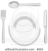 Vector Illustration of a Dinner Plate, Fork, Spoon and Butter Knife by AtStockIllustration