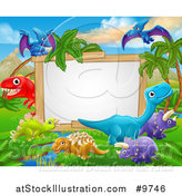 Vector Illustration of a Dinosaurs Landscape Sign - Cartoon Style by AtStockIllustration