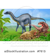 Vector Illustration of a Diplodocus Dinosaur by a T Rex and Triceratops in a Fight by AtStockIllustration
