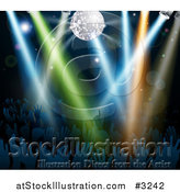 Vector Illustration of a Disco Ball and Lights Shining on Silhouetted Hands in a Dance Floor Crowd by AtStockIllustration