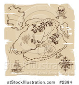 Vector Illustration of a Distressed Pirate Island Treasure Map by AtStockIllustration