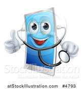 Vector Illustration of a Doctor Smart Phone Wearing a Stethoscope and Holding a Thumb up by AtStockIllustration