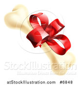 Vector Illustration of a Dog Bone with a Red Gift Ribbon and Bow by AtStockIllustration