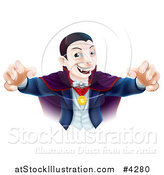 Vector Illustration of a Dracula Vampire Reaching out with His Hands by AtStockIllustration
