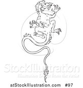 Vector Illustration of a Dragon Climbing a Wall - Outlined Version by AtStockIllustration