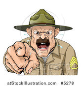 Vector Illustration of a Drill Sargent Spitting and Shouting by AtStockIllustration