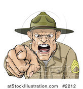 Vector Illustration of a Drill Sargent Spitting As He Shouts by AtStockIllustration