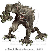 Vector Illustration of a Drooling and Growling Werewolf Monster Rushing Forward to Attack by AtStockIllustration
