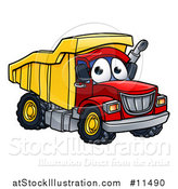Vector Illustration of a Dumo Truck Mascot Character by AtStockIllustration