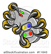 Vector Illustration of a Eagle Talons or Claws Holding out a Video Game Controller by AtStockIllustration