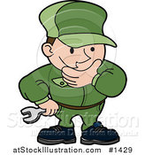 Vector Illustration of a Engineer, Mechanic or Plumber Man in a Green Uniform, Rubbing His Chin While in Thought and Holding a Wrench by AtStockIllustration