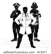 Vector Illustration of a Faceless Black and White Male Doctor, Police Man and Fire Fighter by AtStockIllustration