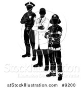 Vector Illustration of a Faceless Black and White Male Doctor, Police Man and Fire Fighter Standing with Folded Arms by AtStockIllustration