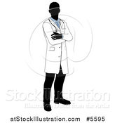 Vector Illustration of a Faceless Male Doctor with Folded Arms by AtStockIllustration