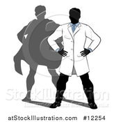Vector Illustration of a Faceless Male Scientist Standing with Hands on His Hips and a Super Hero Shadow by AtStockIllustration