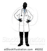 Vector Illustration of a Faceless Silhouetted Male Doctor Wearing a Lab Coat, Standing with Hands on His Hips by AtStockIllustration