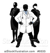 Vector Illustration of a Faceless Silhouetted Male Doctor Wearing a Lab Coat, Standing with Hands on His Hips, with His Team Behind Him by AtStockIllustration