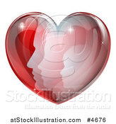 Vector Illustration of a Family in a Reflective Red Heart by AtStockIllustration