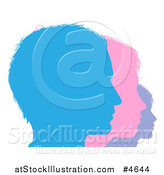 Vector Illustration of a Family in Blue Pink and Purple Silhouetted Face Profile by AtStockIllustration