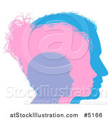 Vector Illustration of a Family in Purple Pink and Blue Silhouette by AtStockIllustration