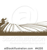 Vector Illustration of a Farm House and Rolling Hills in Brown and White by AtStockIllustration