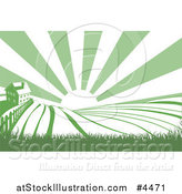 Vector Illustration of a Farm House and Rolling Hills with Sunshine in Green and White by AtStockIllustration
