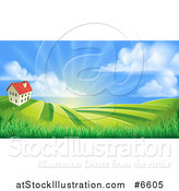 Vector Illustration of a Farmhouse Atop a Hill with Fields at Sunrise by AtStockIllustration