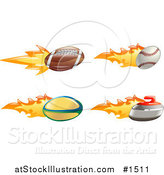 Vector Illustration of a Fast Fiery American Football, Baseball, Rugby Ball and Curling Stone by AtStockIllustration