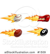 Vector Illustration of a Fast Fiery Baseball, Boxing Glove, Cricket Ball and Eight Ball by AtStockIllustration
