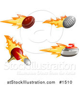 Vector Illustration of a Fast Fiery Cricket, Golf and Tennis Balls with a Curling Stone by AtStockIllustration