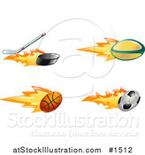 Vector Illustration of a Fast Fiery Hockey Stick Hitting a Puck, Rugby Ball, Basketball and Soccer Ball by AtStockIllustration