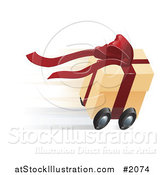 Vector Illustration of a Fast Gift Box on Wheels by AtStockIllustration