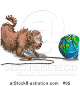Vector Illustration of a Fat Cat Pulling String off of the World by AtStockIllustration