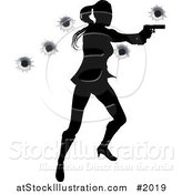 Vector Illustration of a Female Action Hero Shooting, with Bullet Holes by AtStockIllustration