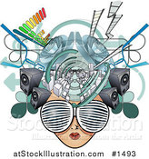 Vector Illustration of a Female Media Head with Visual Glasses, Speakers, Equalizers and Arrows by AtStockIllustration