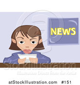 Vector Illustration of a Female News Reporter Making Announcement by AtStockIllustration