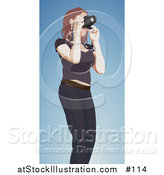 Vector Illustration of a Female Photographer Taking Photograph with Camera by AtStockIllustration