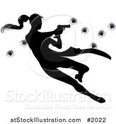 Vector Illustration of a Femme Fatale Jumping and Shooting over Bullet Holes by AtStockIllustration